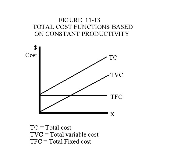Total Cost Functions Based on Constant Productivity